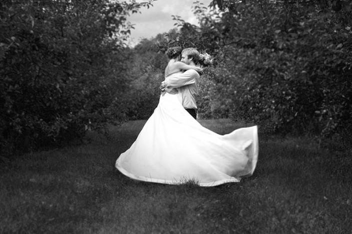 Bride and Groom Apple Orchard Twirl